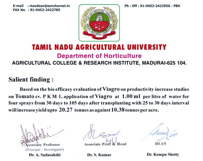 Certificate – Annai Agri Tech
